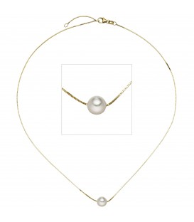 Collier Halskette 375 Gold Gelbgold 1 Akoya Perle 45 cm Kette Goldkette - Bild 1