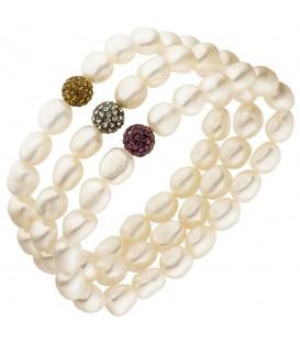 3-teiliges Set aus Armbändern mit Süßwasser Perlen und Kristallen 19 cm - Bild 1