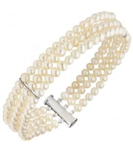 Armband 3-reihig Süßwasser Perlen und 925 Sterling Silber 20 cm Perlenarmband - Bild 1