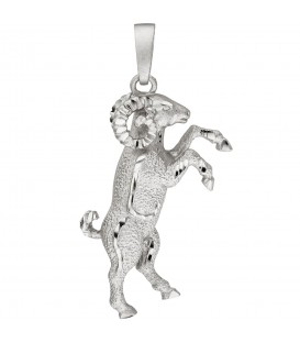 Anhänger Sternzeichen Widder 925 Sterling Silber teil matt Sternzeichenanhänger - Bild 1