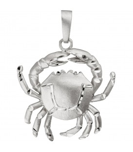Anhänger Sternzeichen Krebs 925 Sterling Silber teil matt Sternzeichenanhänger - Bild 1