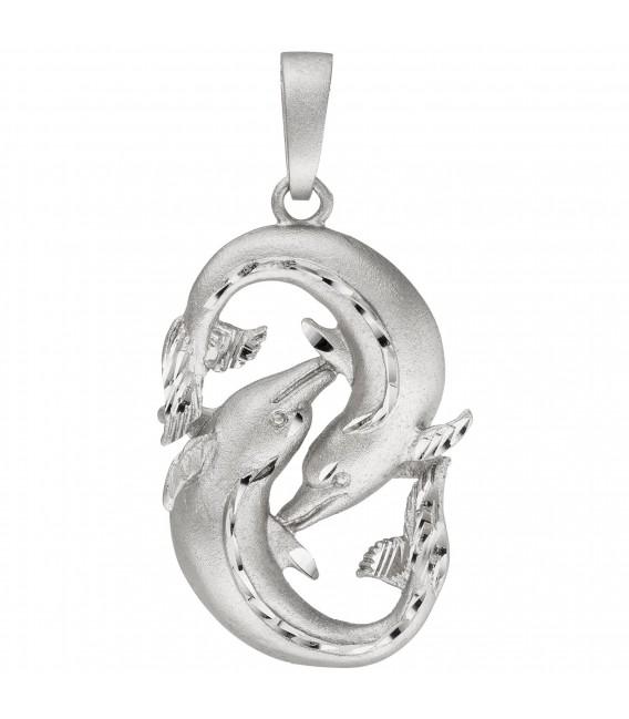 Großbild Anhänger Sternzeichen Fische 925 Sterling Silber teil matt Sternzeichenanhänger - Bild 1