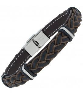 Armband Leder schwarz braun geflochten mit Edelstahl 21 cm - Bild 1