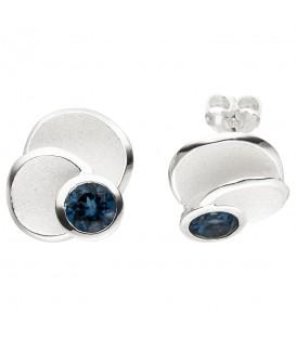 Ohrstecker 925 Sterling Silber 2 Blautopase hellblau blau Ohrringe - Bild 1