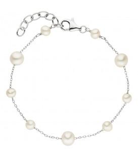 Armband 925 Sterling Silber 9 Süßwasser Perlen 21 cm Perlenarmband - Bild 1
