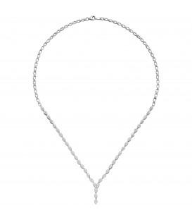 Collier Halskette 925 Sterling Silber 234 Zirkonia 44 cm Kette Silberkette - Bild 1