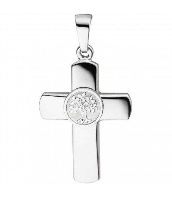 Großbild Anhänger Kreuz Lebensbaum 925 Sterling Silber Kreuzanhänger Silberkreuz - Bild 1