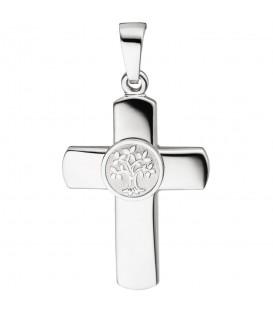 Anhänger Kreuz Lebensbaum 925 Sterling Silber Kreuzanhänger Silberkreuz - Bild 1