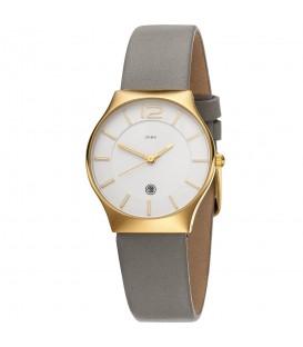 JOBO Damen Armbanduhr Quarz Analog Edelstahl vergoldet Lederband taupe Datum - Bild 1