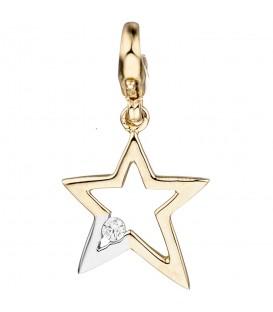 Einhänger Charm Stern 375 Gold Gelbgold bicolor 1 Zirkonia Sternanhänger - Bild 1