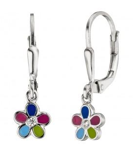 Kinder Ohrhänger Blume 925 Sterling Silber 2 Zirkonia Ohrringe Kinderohrringe - Bild 1