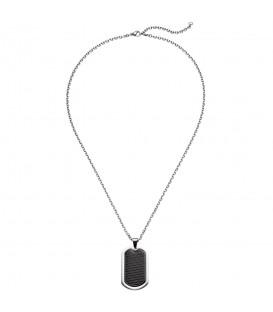 Collier Kette mit Anhänger Edelstahl schwarz beschichtet 55 cm Halskette - Bild 1