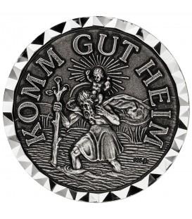 Autoplakette Schutzpatron Christopherus 925 Sterling Silber KOMM GUT HEIM - Bild 1