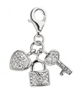 Einhänger Charm Schlüssel zum Herzen 925 Silber 14 Zirkonia Silberanhänger - Bild 1