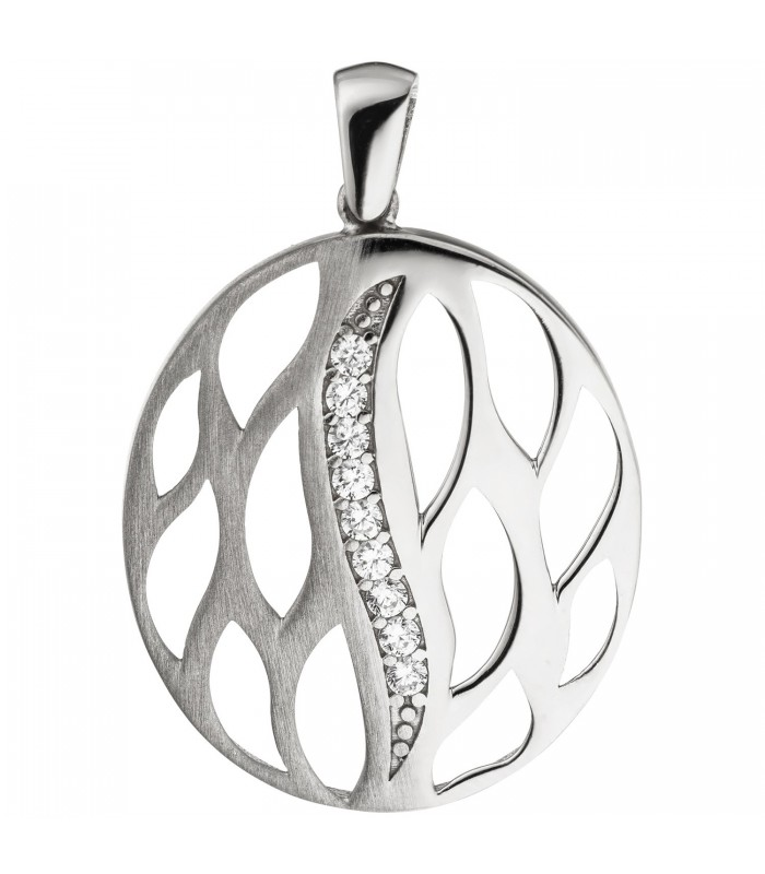 Anhänger rund 925 Sterling Silber teil matt 9 Zirkonia Silberanhänger -  Bild 1 35613946a2