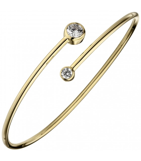 Großbild Armreif Armband 925 Sterling Silber gold vergoldet 2 Zirkonia - Bild 1