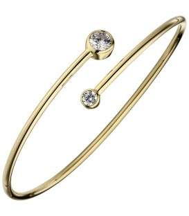 Armreif Armband 925 Sterling Silber gold vergoldet 2 Zirkonia - Bild 1