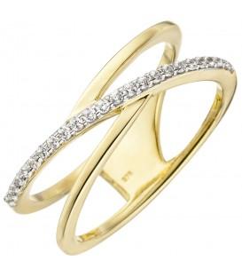 Damen Ring 2-reihig 375 Gold Gelbgold 24 Zirkonia Goldring - Bild 1