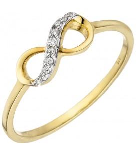 Damen Ring Unendlichkeit 375 Gold Gelbgold 10 Zirkonia Goldring - Bild 1