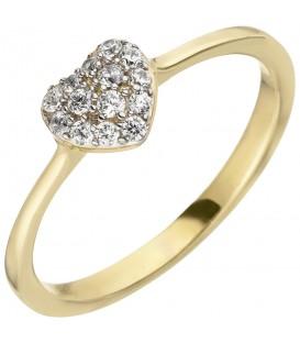 Damen Ring Herz 375 Gold Gelbgold 14 Zirkonia Goldring Herzring - Bild 1