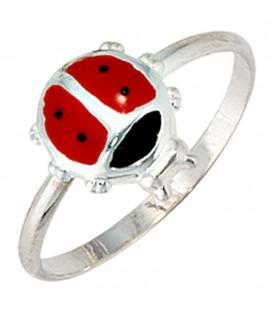 Kinder Ring Marienkäfer 925 Sterling Silber Lackeinlage rot schwarz Kinderring - Bild 1