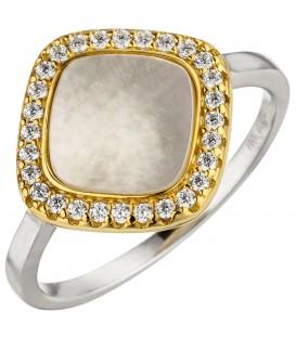 Damen Ring 925 Sterling Silber bicolor vergoldet Perlmutt 28 Zirkonia - Bild 1