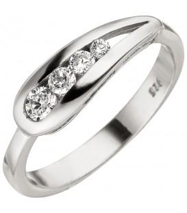 Damen Ring 925 Sterling Silber 4 Zirkonia Silberring - Bild 1