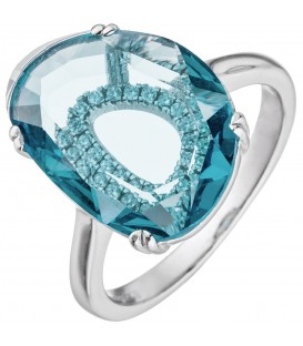 Damen Ring 925 Sterling Silber 19 Zirkonia 1 Kristall türkis Silberring - Bild 1