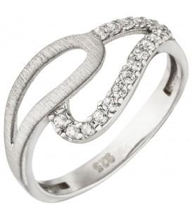 Damen Ring 925 Sterling Silber matt 18 Zirkonia Silberring - Bild 1