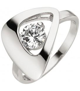 Damen Ring 925 Sterling Silber 1 Zirkonia Silberring - Bild 1