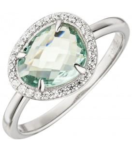 Damen Ring 925 Sterling Silber 1 Glasstein hellblau blau 29 Zirkonia Silberring - Bild 1