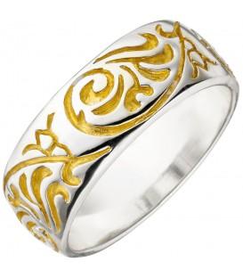 Damen Ring 925 Sterling Silber bicolor vergoldet Silberring - Bild 1