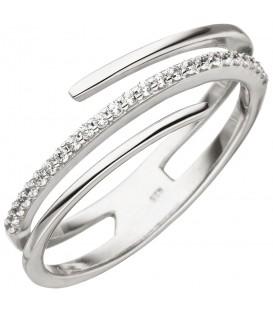 Damen Ring mehrreihig 925 Sterling Silber 26 Zirkonia Silberring - Bild 1