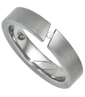 Damen Ring Edelstahl mattiert 1 Diamant Brillant 0