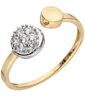 Damen Ring offen 375 Gold Gelbgold Weißgold bicolor 7 Zirkonia Goldring - Bild 1