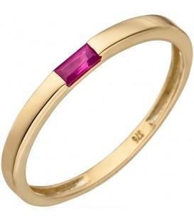 Damen Ring 375 Gold Gelbgold 1 Rubin Goldring Rubinring - Bild 1