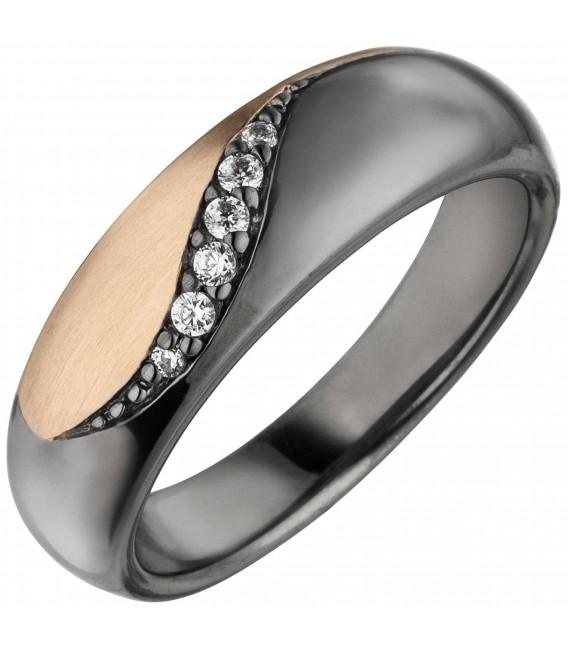 Damen Ring 925 Sterling Silber schwarz und roségold bicolor 6 Zirkonia - Bild 1