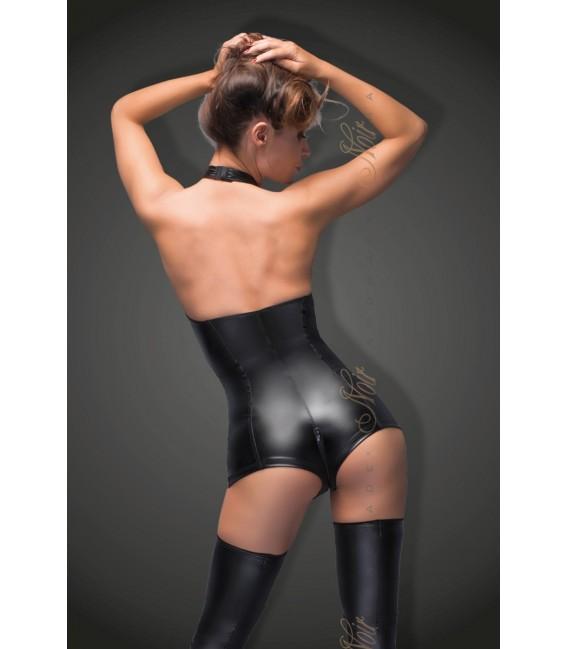 schwarzer Powerwetlook Body wit Sptizen-Ausschnitt F169 von Noir Handmade B#tch Collection Bild 2 Großbild