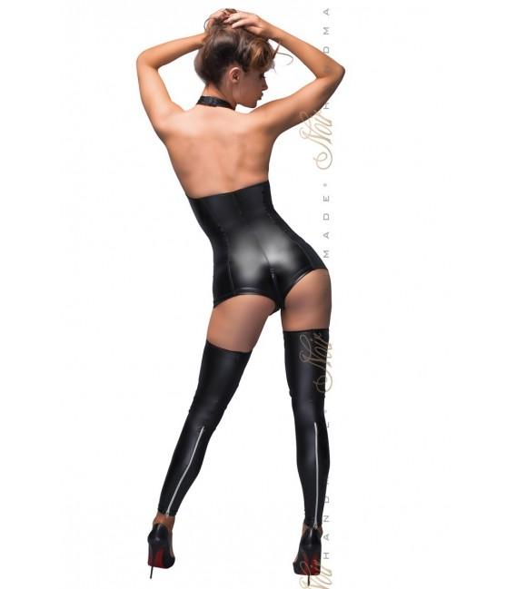 schwarzer Powerwetlook Body wit Sptizen-Ausschnitt F169 von Noir Handmade B#tch Collection Bild 4 Großbild