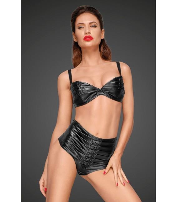 High-waist Shorts aus Powerwetlook mit handgemachten Zierfalten F176 von Noir Handmade Decadence Collection Bild 3 Großbild