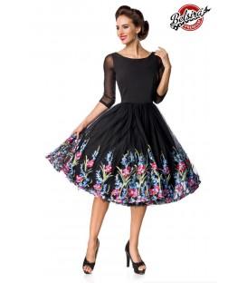 Belsira Premium besticktes Swing-Kleid schwarz - AT50126