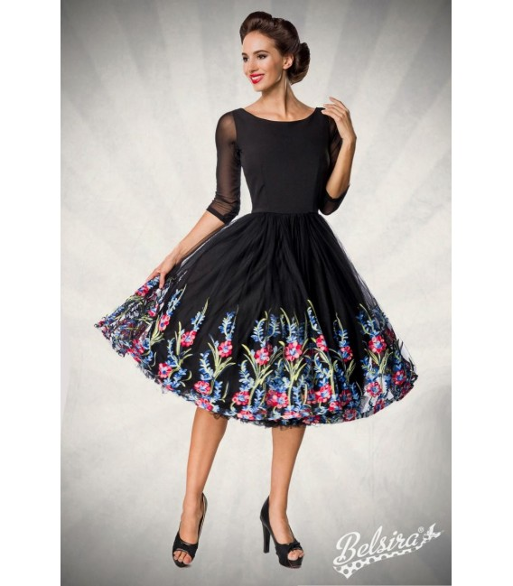 Belsira Premium besticktes Swing-Kleid schwarz - AT50126 Großbild