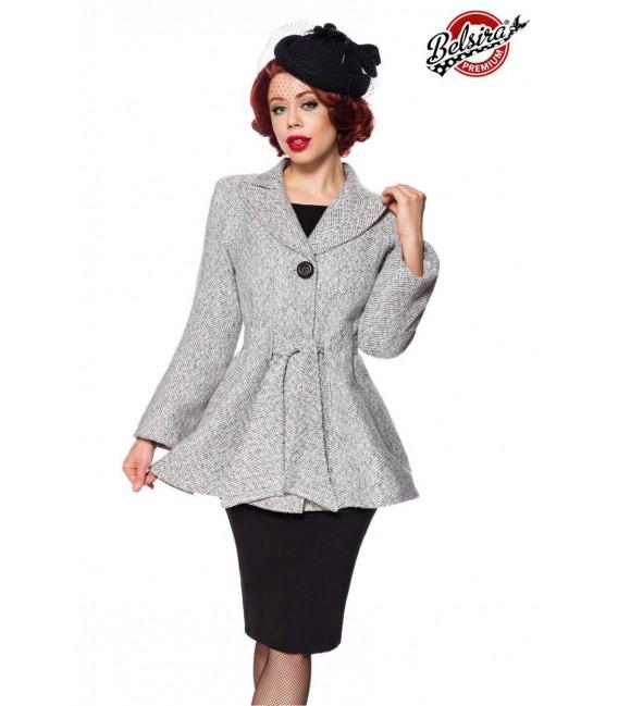 Belsira Premium Blazer-Jacke mit Gürtel schwarz/weiß - AT50141 - Bild 1 Großbild