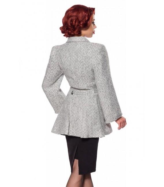 Belsira Premium Blazer-Jacke mit Gürtel schwarz/weiß - AT50141 - Bild 4 Großbild