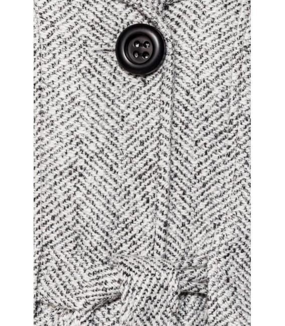Belsira Premium Blazer-Jacke mit Gürtel schwarz/weiß - AT50141 - Bild 5 Großbild