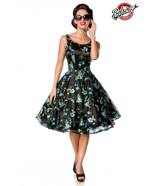 Retro Blumenkleid schwarz/blau - AT50176 - Bild 1
