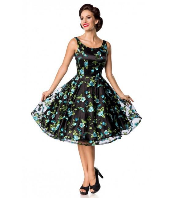 Retro Blumenkleid schwarz/blau - AT50176 - Bild 2