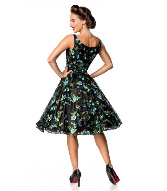 Retro Blumenkleid schwarz/blau - AT50176 - Bild 3