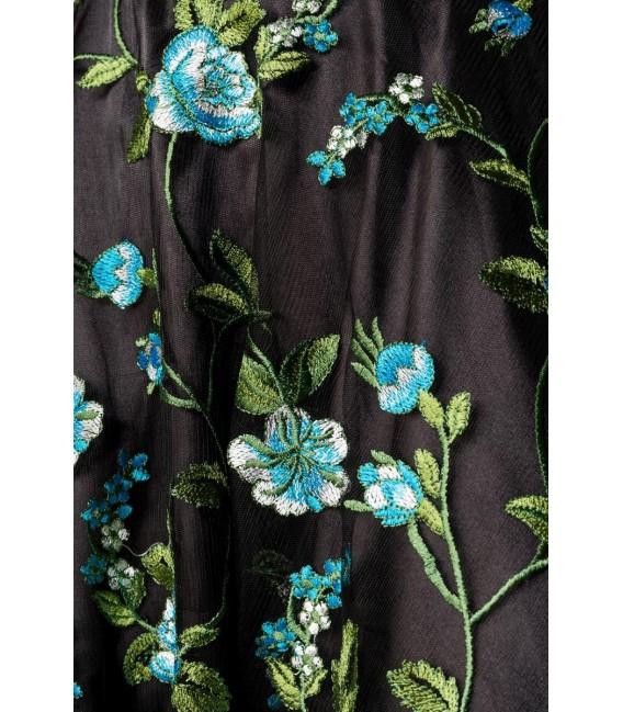 Retro Blumenkleid schwarz/blau - AT50176 - Bild 4