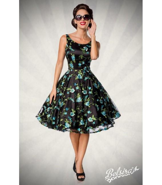 Retro Blumenkleid schwarz/blau - AT50176 - Bild 6